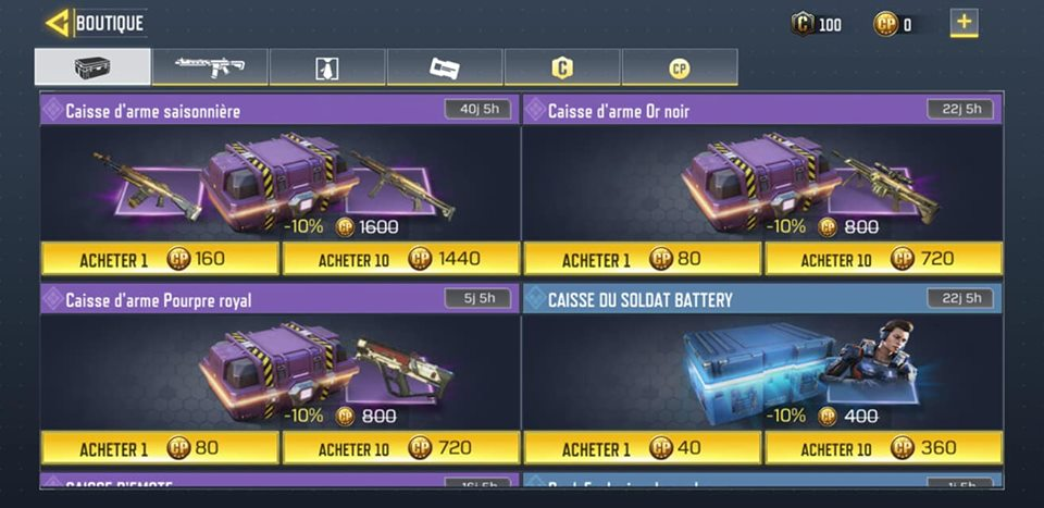 LOOT box et skins dans call of duty mobile