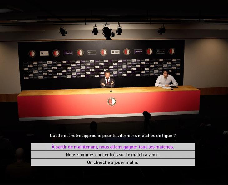 Interaction dans le jeu PES 2020
